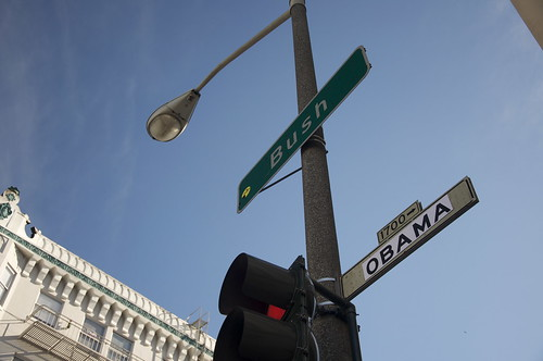 In San Francisco, one of our great cross-city thoroughfares is Bush Street (not named after THOSE Bushes!) Sometime last night, pranksters changed nearly every Bush Street sign to Obama! Lets keep it. San Francisco should be the first city with an Obama Street!
