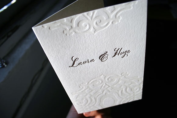 Lashar letterpress wedding program - calligraphy font - by Smock