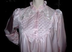 Kathryn Pink Satin Cuddleskin Nightgown Close Up Front (mondas66) Tags: pink satin nightgown nightdress nightie athryn cuddleskin