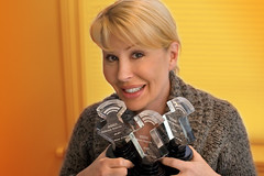 Candi Stratton loves posing with the Feast of Fools People's Choice Podcast Awards!