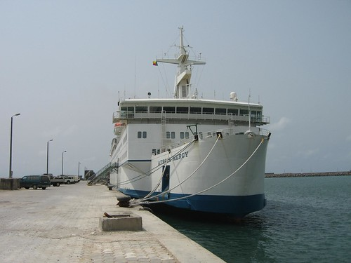 The Africa Mercy docked in Cotonou, Benin