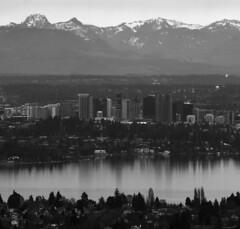 Bellevue B&W (JTContinental) Tags: urban blackandwhite mountain water landscape bellevue pfogold pfosilver thechallengefactory jtcontinental herowinner