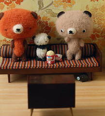 Movie Night (TADA's Revolution) Tags: bear movie miniature tv panda handmade oneofakind ooak crochet craft plush livingroom softie stuffedanimal kawaii rement amigurumi diorama crafting dollhouse stuffie megahouse  whipupcalendar2010