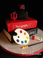 Graduation Cake (jewelsb78(thefrostedcakencookie)) Tags: camera photography cap indianauniversity iu paintbrush arthistory tassle bigred painttube graduationcake crimsonandcream bookcake painterspallet