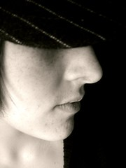 (Silent Orchestra) Tags: light portrait blackandwhite bw girl face hat sepia person stripes side hidden sideprofile silentorchestra hiddeneyes laughlovehope