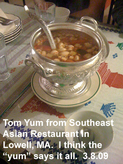 Tom Yum from Southeast Asian Restaurant in Lowell, MA.  I think the yum says it all.
