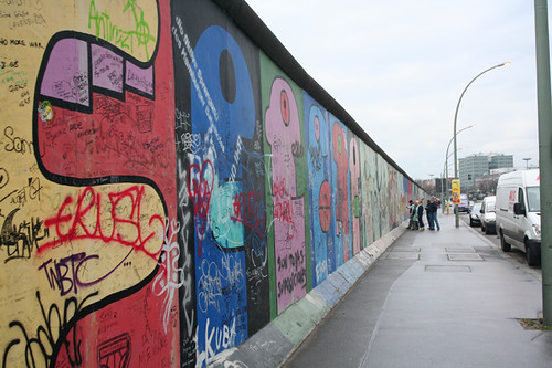 East Side Gallery covered in graffiti