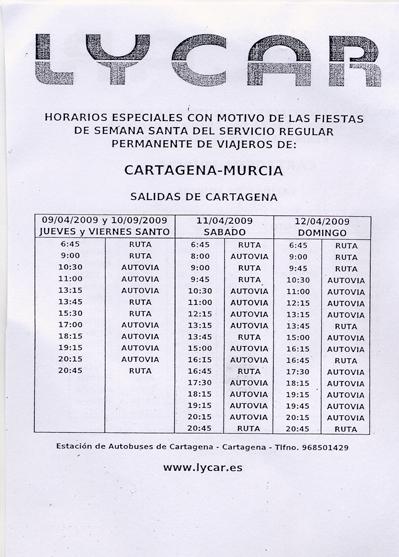 horarios de la estacion de autobuses de murcia: