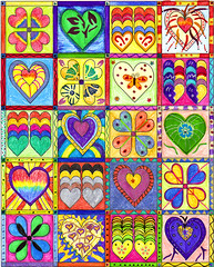 Art-A Game of Hearts (JasonB.) Tags: pink blue red orange abstract black art colors yellow pen ink pencils hearts colorful purple heart squares magic shapes colored markers greeb
