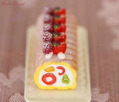 Re-Ment's lovely take on a jelly roll cake (Piccolina Photography) Tags: pink red sunlight white cute yellow cake japan fruit dessert toys miniatures three napkin cream strawberries naturallight sugar whitebackground kawaii pastry sweets treat rement kiwi icingsugar raspberries doily blackberries puchi dollhouse set3 powderedsugar jellyroll japanesetoys doilie softcolors tabletopphotography 16scale theperfectphotographer puchipetites fruitrollcake toyscale cakesonparade rement3