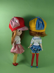 BRC April - Tweedles (Ro / wererabbit) Tags: outfit doll sewing craft blythe aliceinwonderland wererabbit tweedles tweedledumtweedledee blytherunwaychallenge