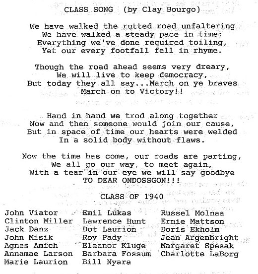 Class of 1940 Roster and Class Song