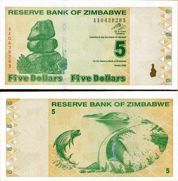 5 dolárov Zimbabwe 2009