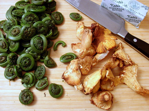 fiddleheads and chanterelles
