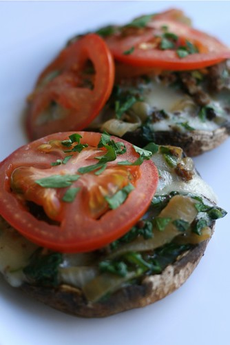 Grilled Portobellos Stuffed with Sausage, Spinach and Mozzarella