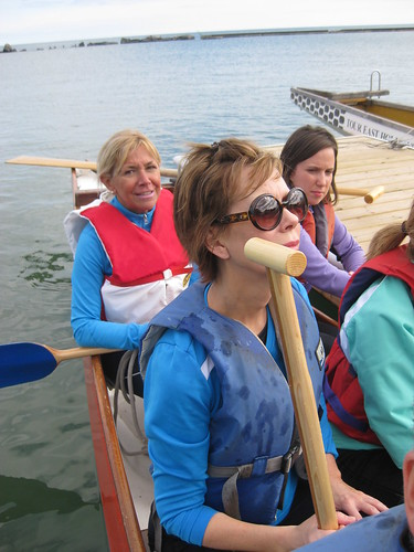 Mary Ellen Dewis and Susan Neil at the ScotiaMcLeod Rosedale Branch Dragon Boat Race Training