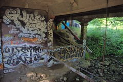 Grafitti (thamiter) Tags: california northerncalifornia creek graffiti berkeley sanfranciscobayarea alameda 2009