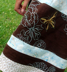 Shirred Blue and Brown Butterfly Sundress Detail