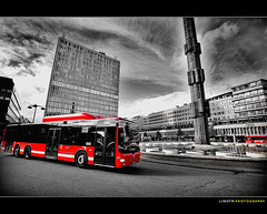 Bus in Stockholm (Dinh Linh) Tags: life city red summer bw bus art canon blackwhite amazing downtown cityscape sweden stockholm wideangle monotone swedish sergelstorg centrum 1740 redbus summercourse