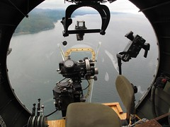 B-17 nose position view over olympic penninsula (Blue-yonder) Tags: b17 boeing bomber flyingfortress aaf gunsight usaaf nosegunner