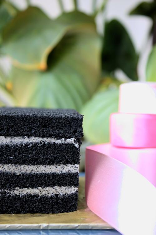 Bamboo Charcoal Black Sesame White Chocolate Cake