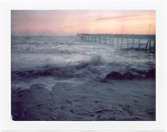 westward at dusk (john curley) Tags: film polaroid doubleexposure pacifica pacificapier 110a fuji100p