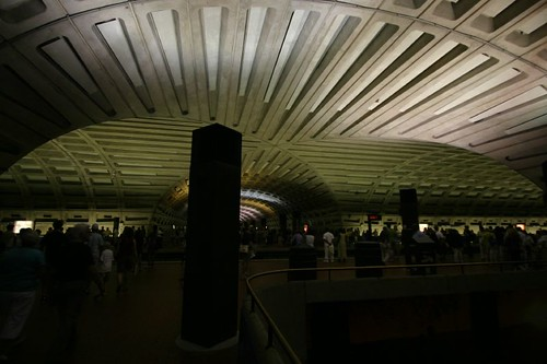 The dimly lit Washington Metro...