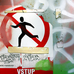 Can't run away from a bad trip (daliborlev) Tags: metal square graffiti sticker paint urbandecay stickers plastic brno damage damaged noentrysign vandalised mundanedetail runningman dontdodrugs valndalism vysílačhády