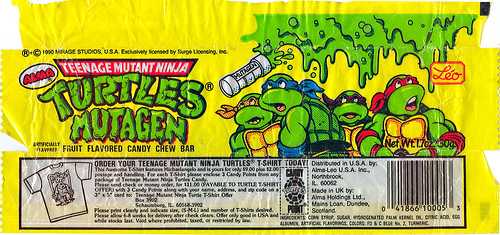 Alma-Leo U.S.A - Teenage Mutant Ninja Turtles 'MUTAGEN' Fruit Flavored Candy Chew Bar ;wrapper i (( 1990 ))