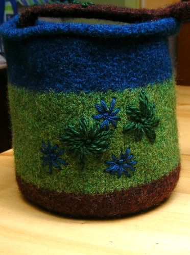 Felted Wool Bucket Bag Front Detail