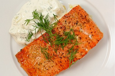 seared salmon with dill cuc...