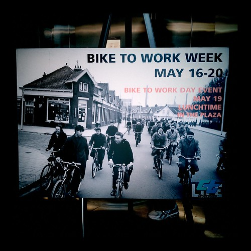 CalTrans 2011 Bike To Work Week poster in lobby