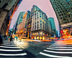 Urban Chaos (bijoyKetan) Tags: new york light apple car night lens lights big long exposure cityscape cross dusk trails bap fisheye photowalk streaks ketan procssed bijoyketan rokinonfe8mc8mmf35fisheye