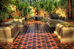 Palm House (Dylan Toh) Tags: house nature fountain gardens garden tile botanical floor australia palm explore greenhouse adelaide checkered hdr everlook explored everlookphotography