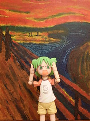 "Yotsuba & ""The Scream"" (Sasha's Lab (working overtime)) Tags: art marriott painting toy actionfigure hotel funny action background manga canvas figure backdrop parody homage thescream acrylics koiwai masterpiece kaiyodo skrik edvardmunch yotsubato yotsuba revoltech  derschreidernatur enjoyart gyaaa"