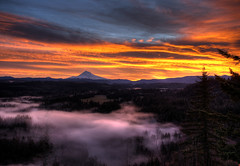 Mt. Hood Sunrise in HDR (Gigapic) Tags: sky orange sun fog clouds landscape landscapes mt mthood hood hdr photomatix challengeyouwinner photofaceoffplatinum pfogold herowinner
