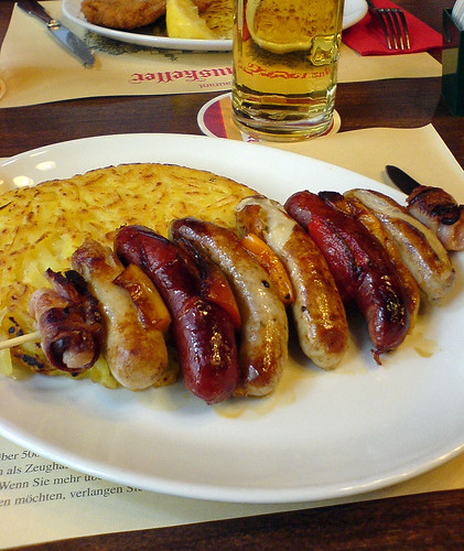 A sausage lunch at the Zeughauskeller restaurant in Zürich