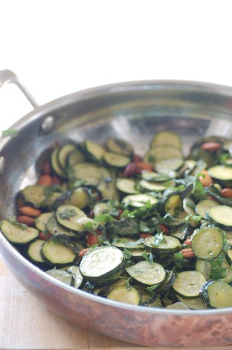 zucchini confit with almonds & mint