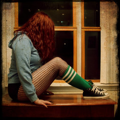 Week 34: average everyday sane/psycho supergoddess (Faerie Girl) Tags: texture me window socks bedroom sitting converse fishnets chucks extraordinary squarecrop lizphair 52weeks week34 urbanacid explored fakettv tangleyhair