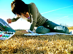 Painting. (chelsearoberson) Tags: sky girl field grass painting outside paint acrylic canvas