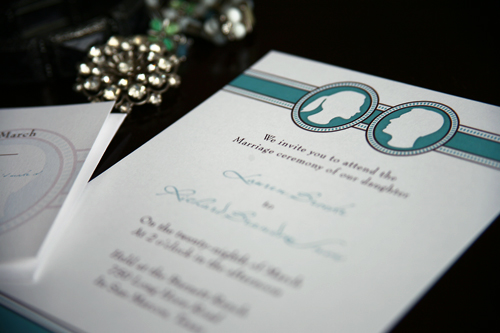 Face to Face Wedding Invitations, Face, blue, border, wedding invitation idea, samples, wedding invitation, flowers, photos