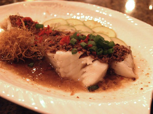 Steamed cod fish with crispy beancurd crumbs
