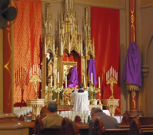 Saint Francis de Sales Oratory, in Saint Louis, Missouri, USA - unveiling the statues at the Easter Vigil liturgy