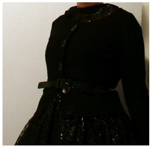 detail; cardigan, belt, dress
