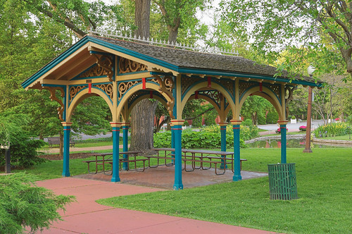 Tower Grove Park, in Saint Louis, Missouri, USA - lilly pond shelter