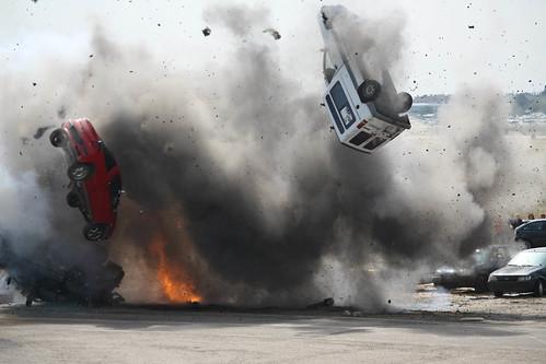 フリー画像| 自動車| 爆発/爆破| 対テロ訓練| スペイン風景|       フリー素材|
