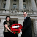 Tiananmen Square 20th anniversary, Stormont: Anna Lo MLA and Patrick Corrigan on steps with wreath