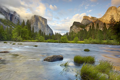 Valley View #1 - Yosemite National Park (PatrickSmithPhotography) Tags: california travel sunset wallpaper vacation sky usa art nature water grass rock pine canon landscape geotagged waterfall bravo paradise sierra cedar yosemite granite 5d elcapitan bridalveilfalls ribbonfalls mkii mercedriver photocontesttnc09 bestwishestnc09