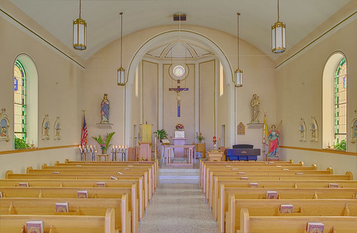 Saint Michael's Roman Catholic Church, in Paderborn, Illinois, USA - nave