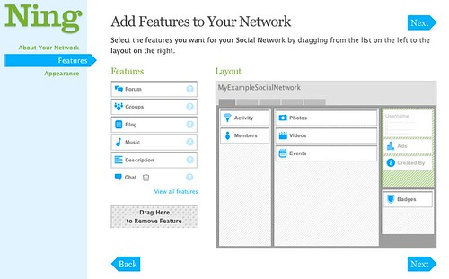 Ning screenshot: Add Features as you create a new Social Network